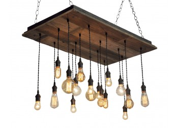 17 Light Reclaimed Wood Chandelier