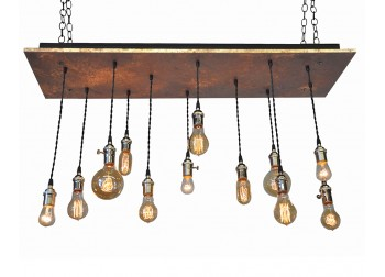12 Light Multi Pendant Chandelier - Rust