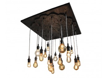 20 Pendant Black Tin Chandelier