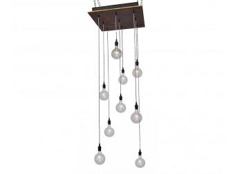 9 Light Pendant Chandelier - Rust