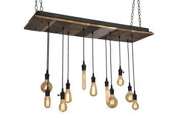 11 Light Reclaimed Wood Chandelier (A)