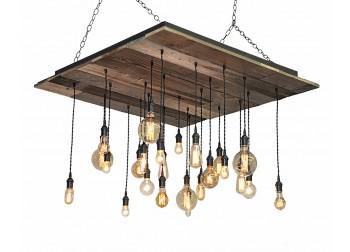 24-Light Reclaimed Wood Chandelier