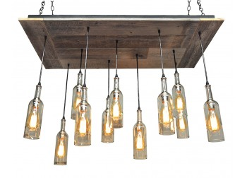 11 Wine Bottle Pendant Reclaimed Wood Chandelier