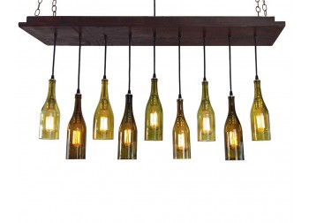 9 Wine Bottle Chandelier