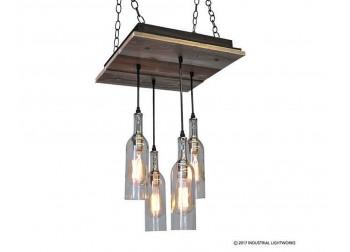 Wine bottle pendant chandeliers industrial lightworks 4 wine bottle chandelier reclaimed wood aloadofball Choice Image