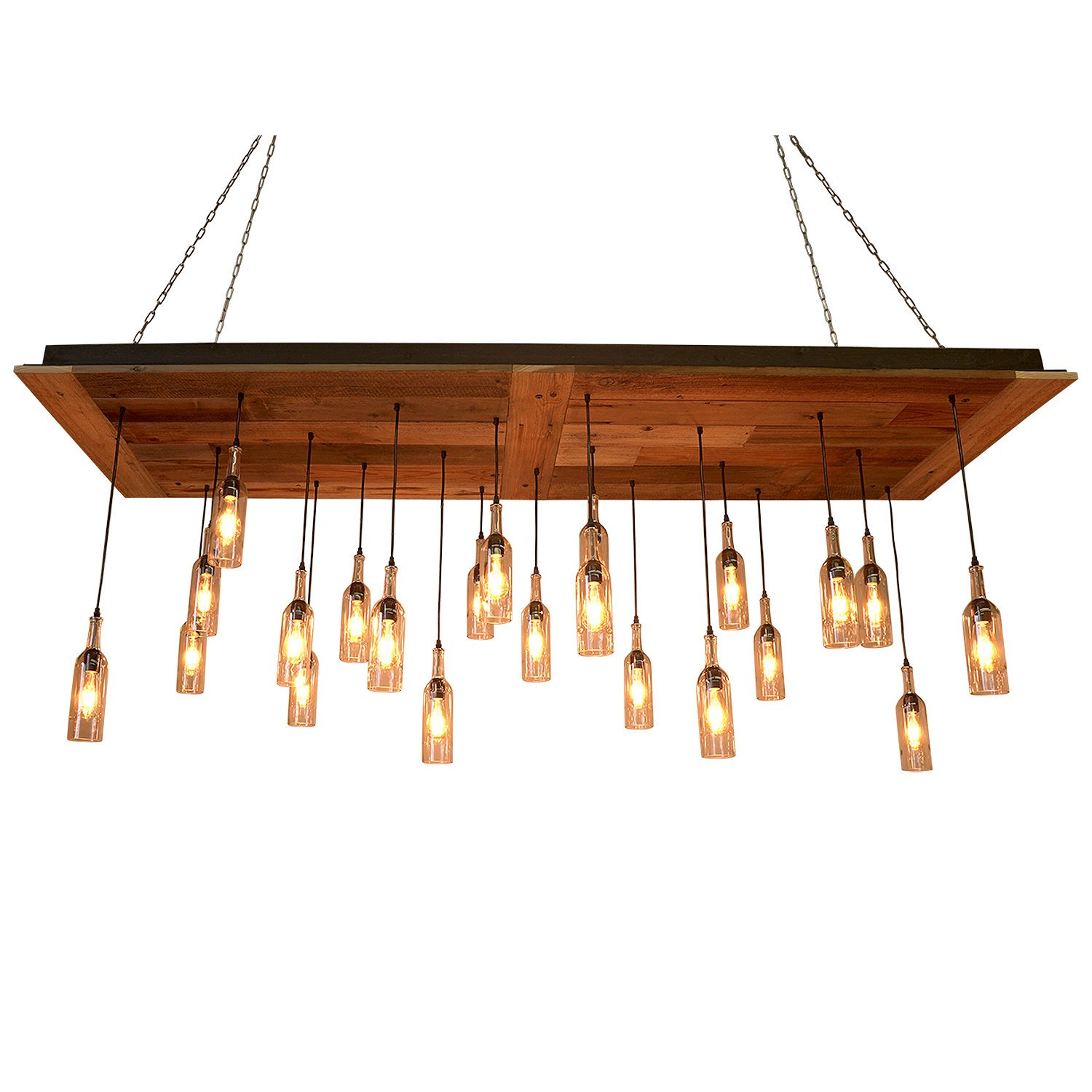 22 Wine Bottle Pendant Chandelier - Reclaimed Wood