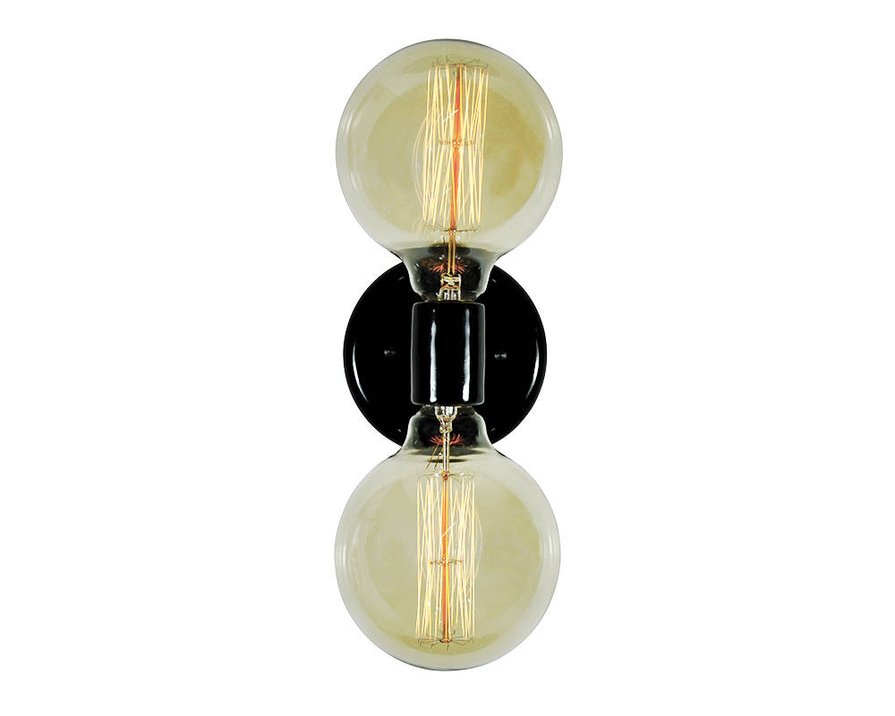 Modern Globe Double Light - Black