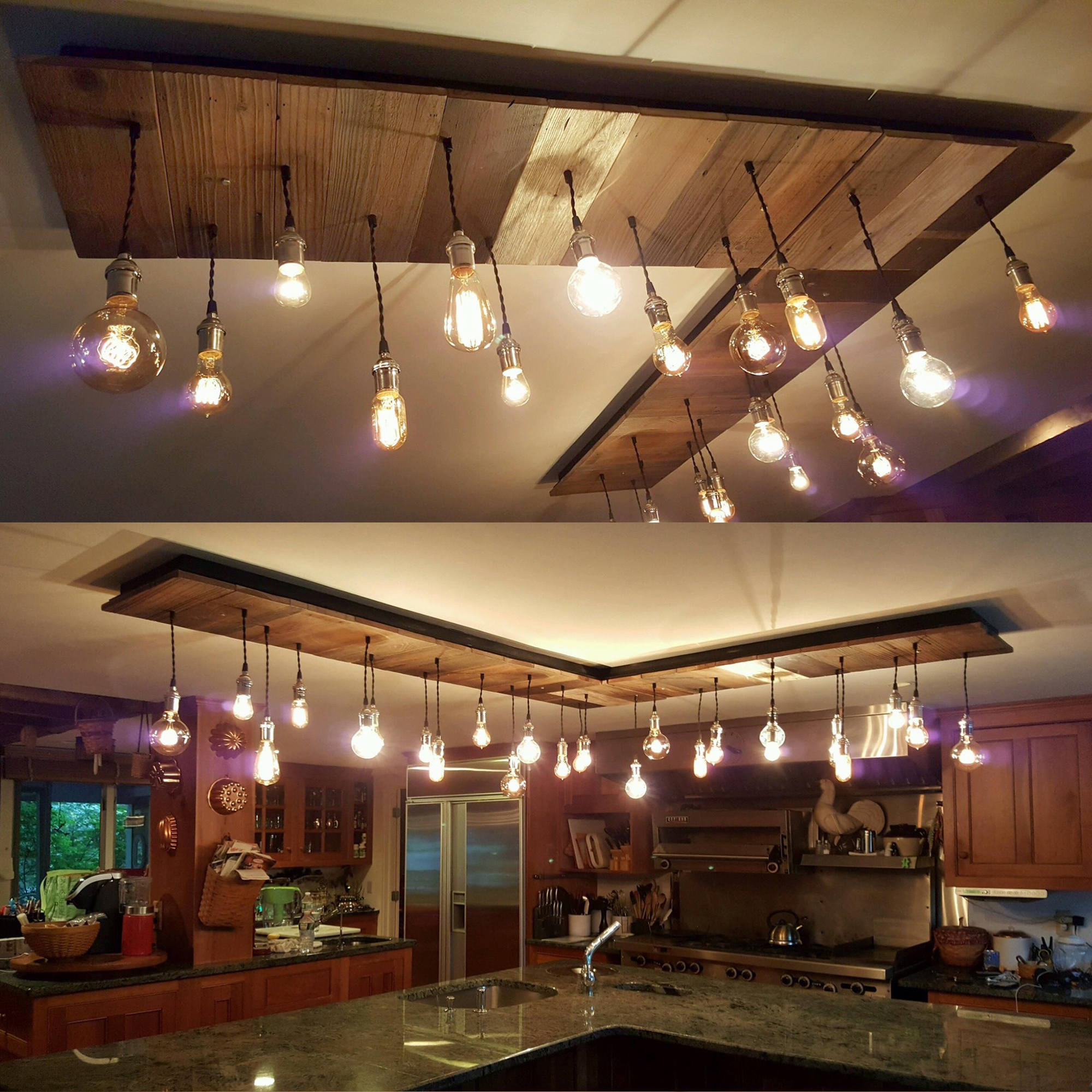 Reclaimed wood pendant chandelier over a kitchen island