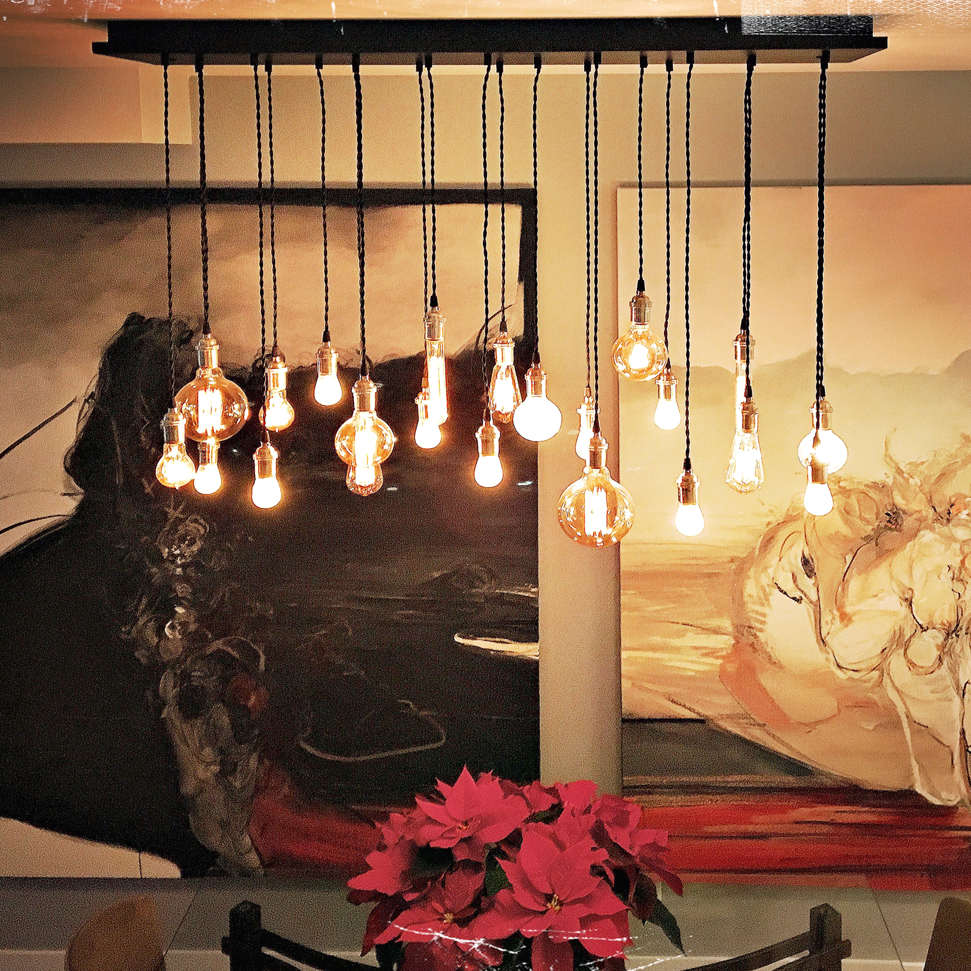edison bulb chandelierhanging over a dining room table