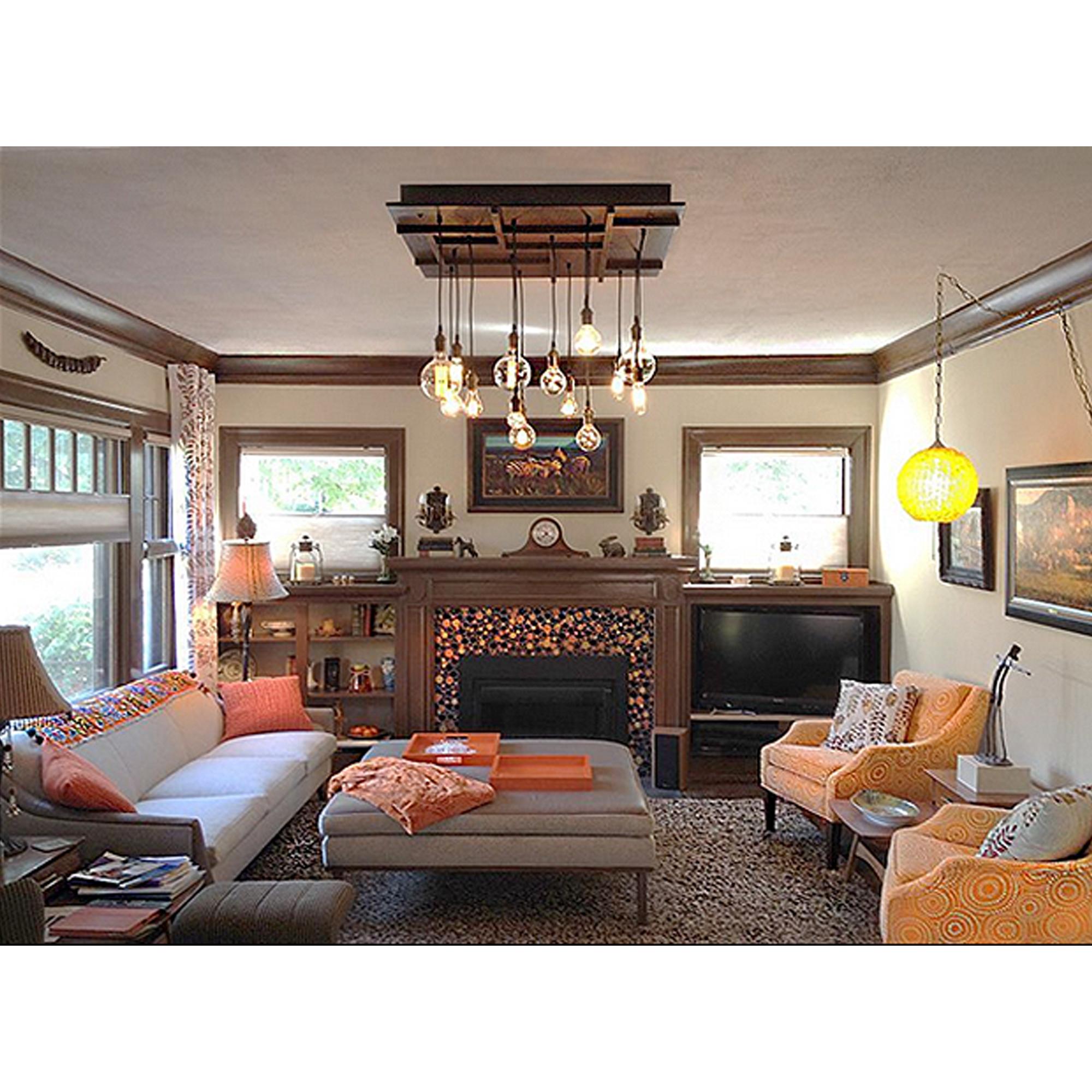 Multi Pendant edison bulb chandelier in a living room
