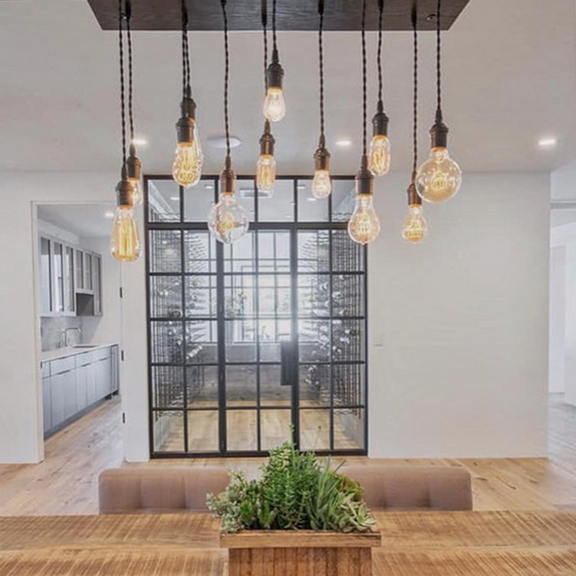 Industrial Pendant Chandelier over a table