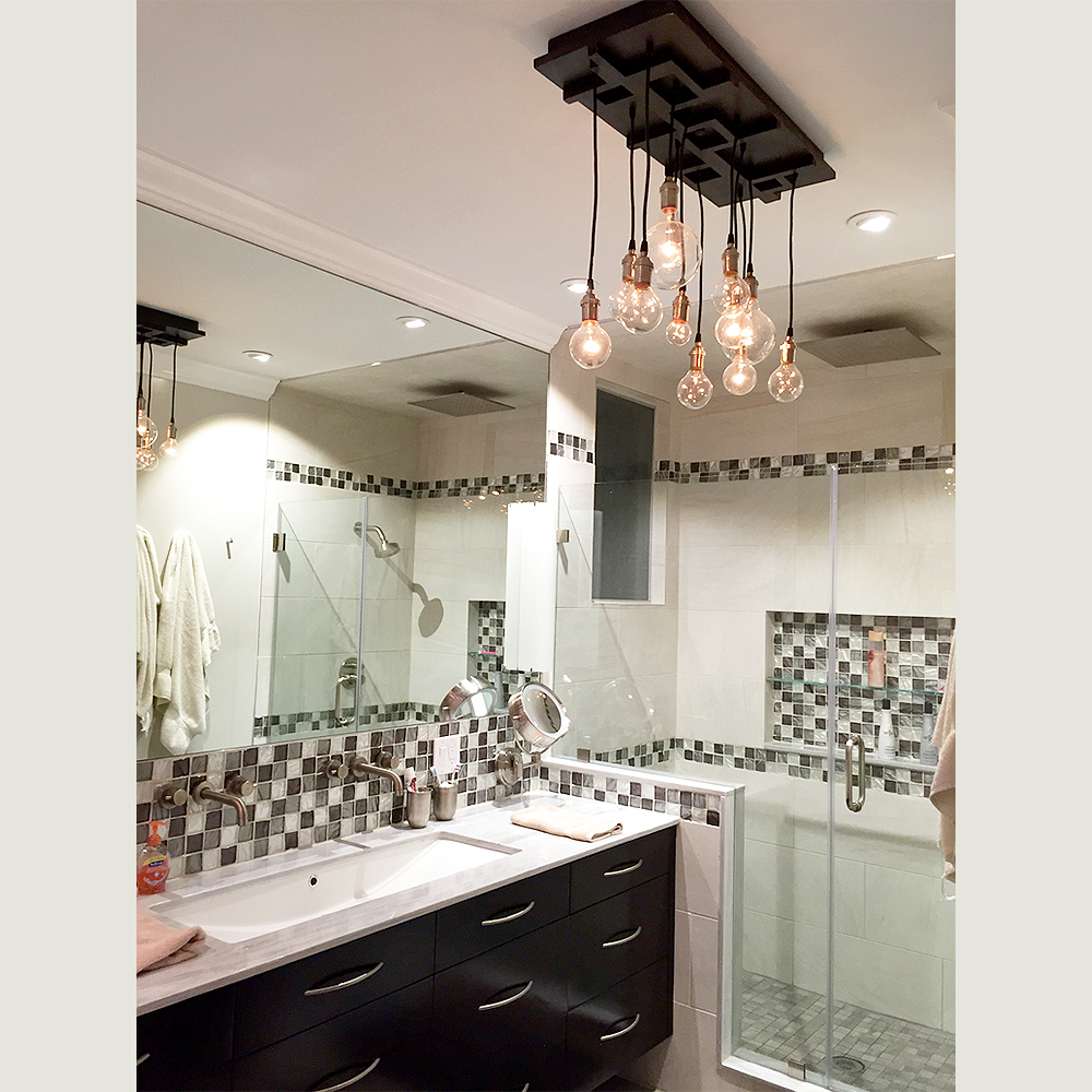 multi pendant chandelier in a bathroom