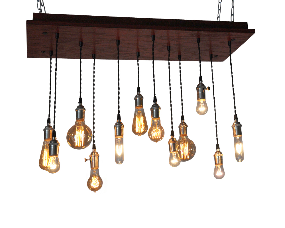 12 Light Barn Red Chandelier