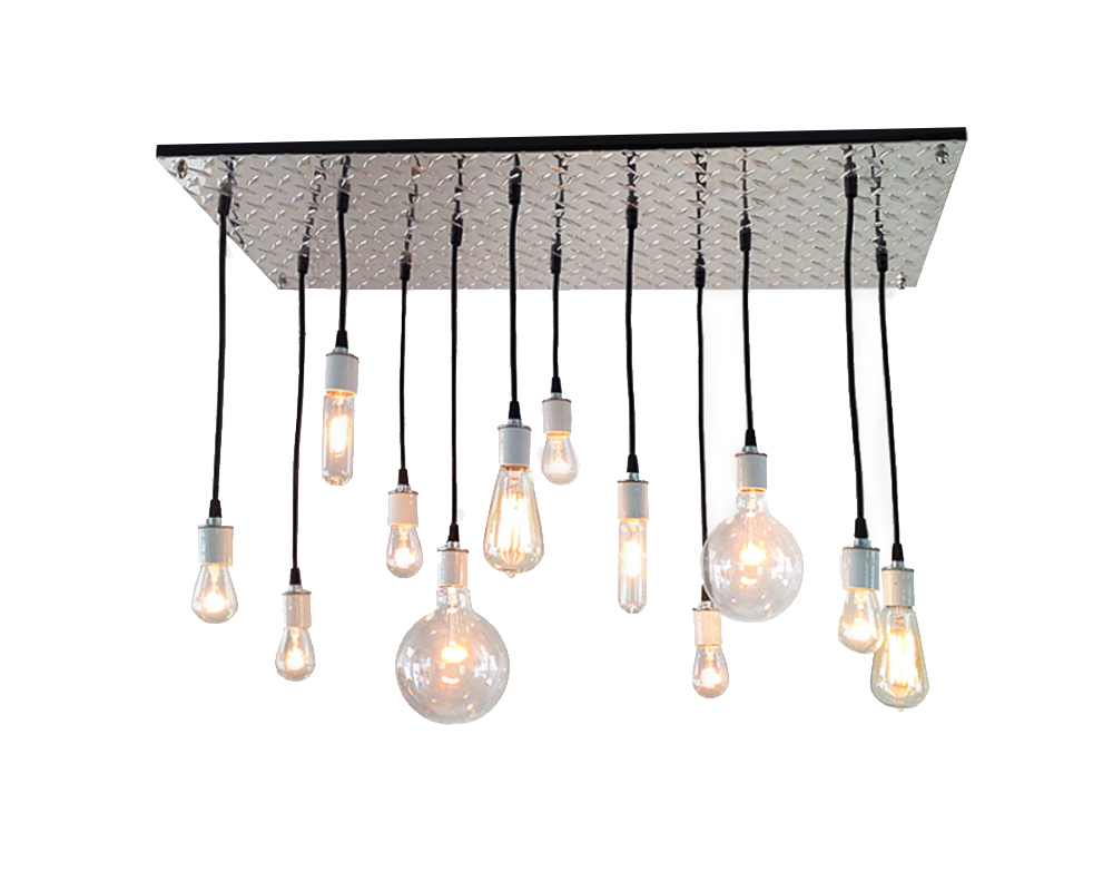 12 Multi-pendant Diamond Plate Chandelier
