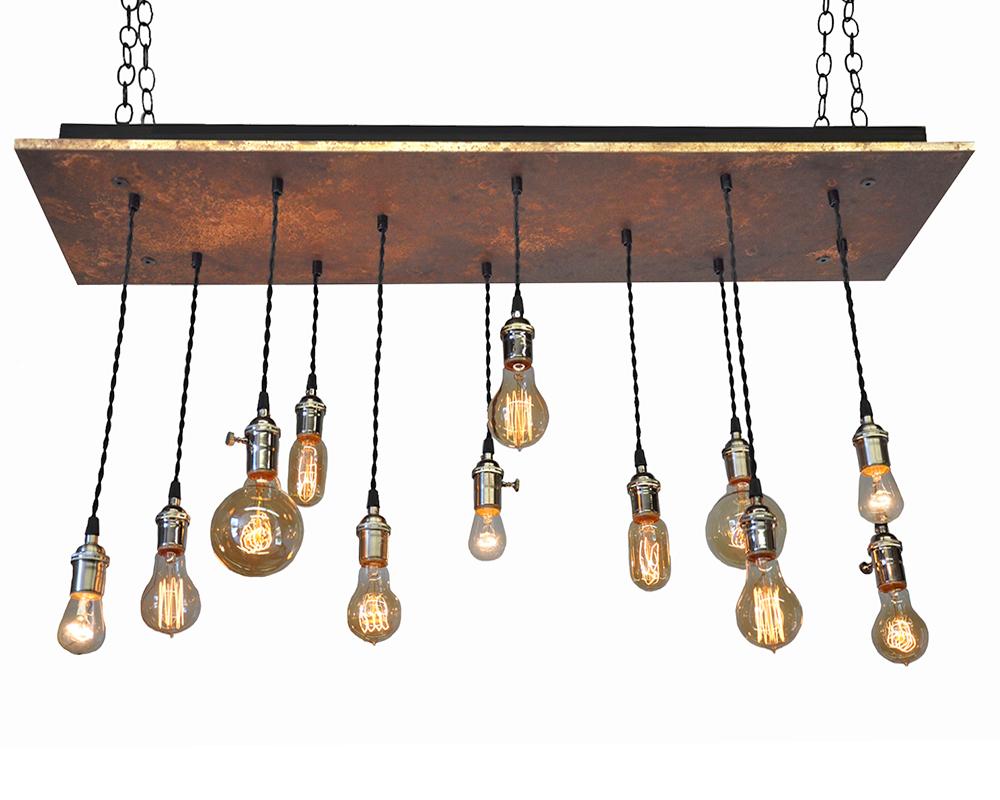 12 Light Multi Pendant Chandelier - Rust