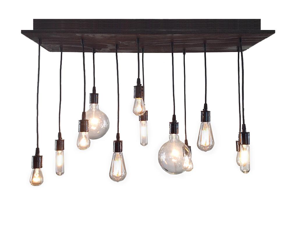 Modern Multi-Pendant Bare Bulb Chandelier