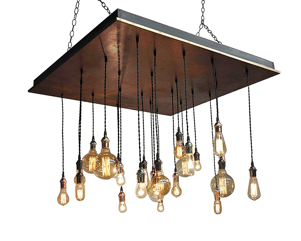 24 Pendant Metal Chandelier - Rust Finish