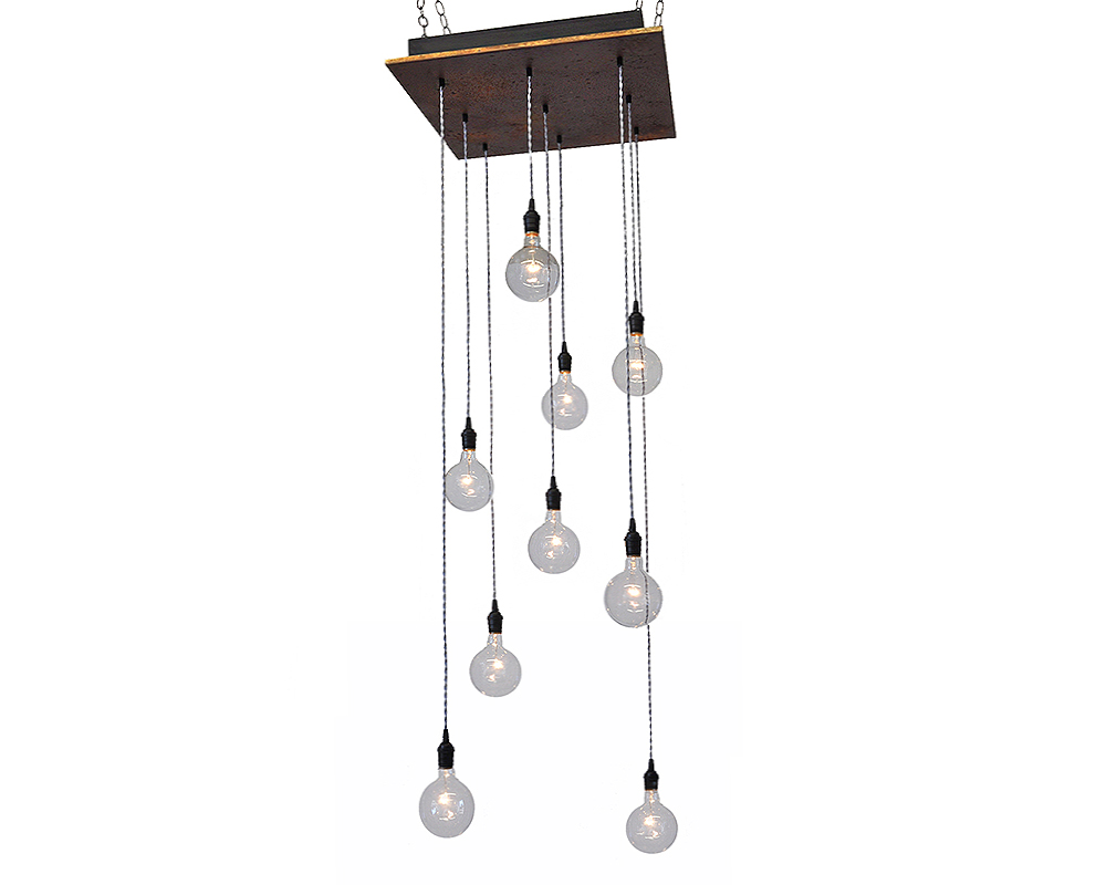 9 Light Pendant Chandelier - Rust