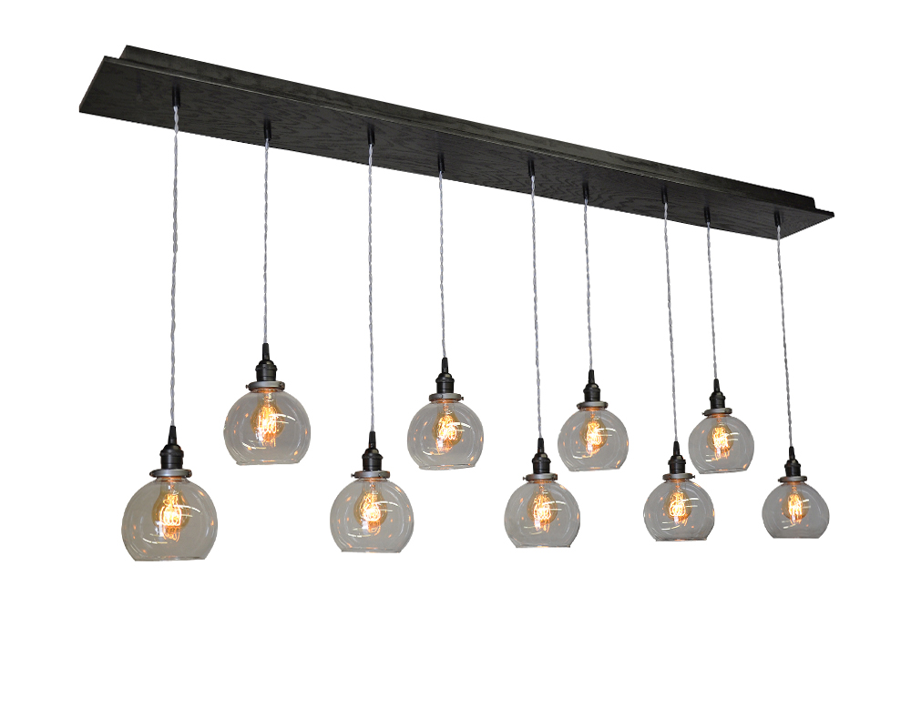9 light multi pendant globe chandelier industrial lightworks