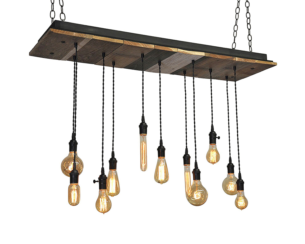 11-Light Reclaimed Wood Chandelier