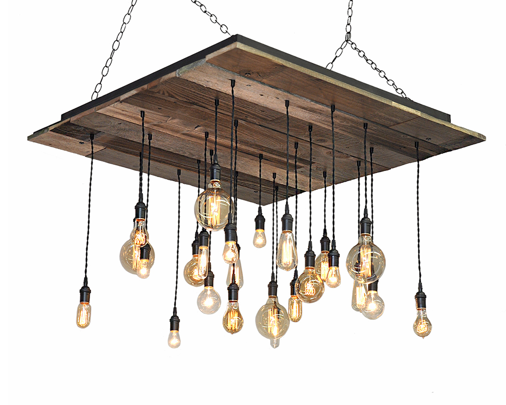 24-Light Reclaimed Wood Chandelier