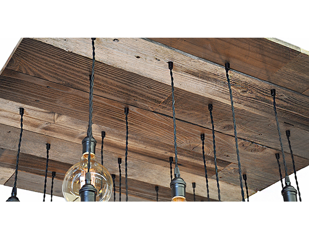reclaimed wood strips and edison bulb pendants