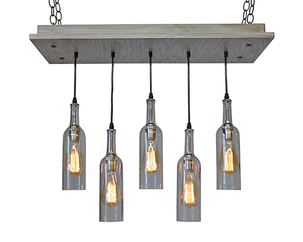 5 light wine bottle pendant chandelier industrial lightworks 5 wine bottle pendant chandelier aloadofball Gallery