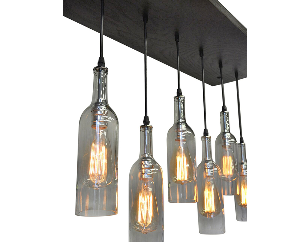 Wine bottle multi pendant chandelier industrial lightworks 9 wine bottle chandelier aloadofball