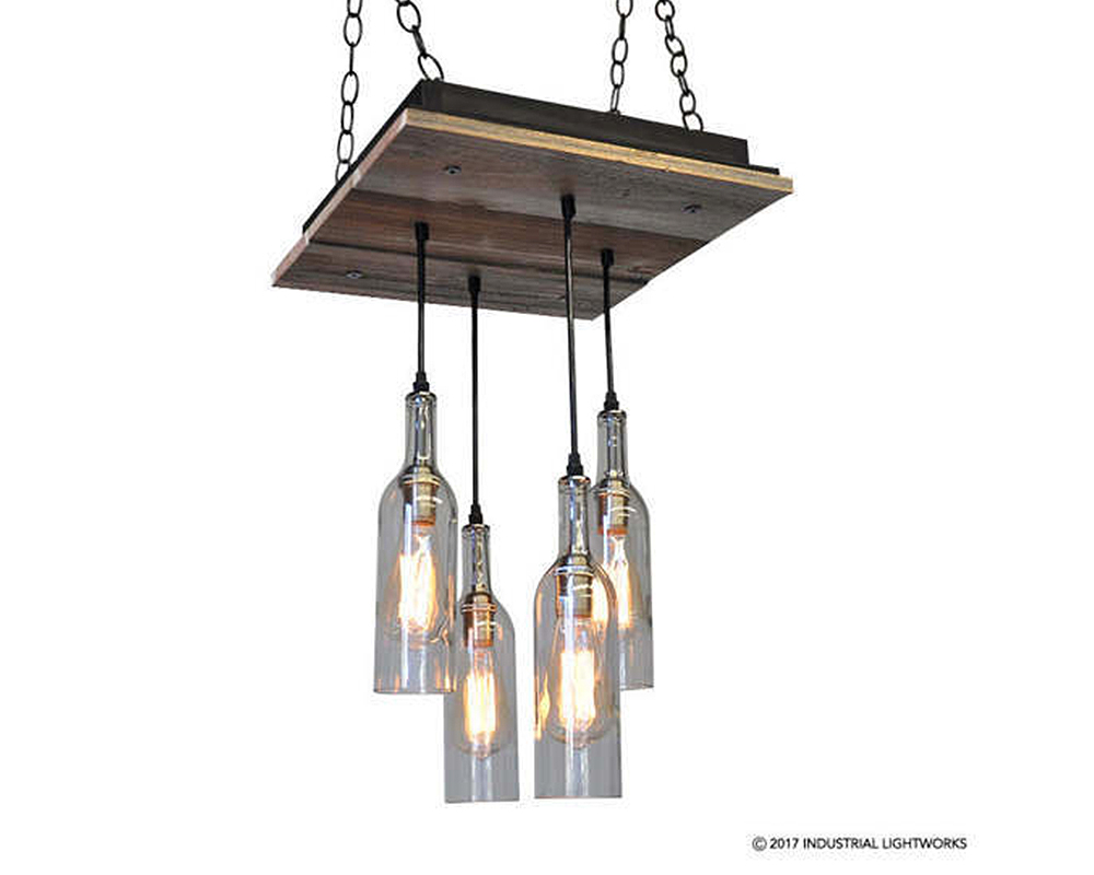 4 Wine Bottle Chandelier - Reclaimed Wood