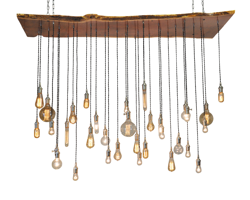 Live-Edge Slab Multi Pendant Chandelier