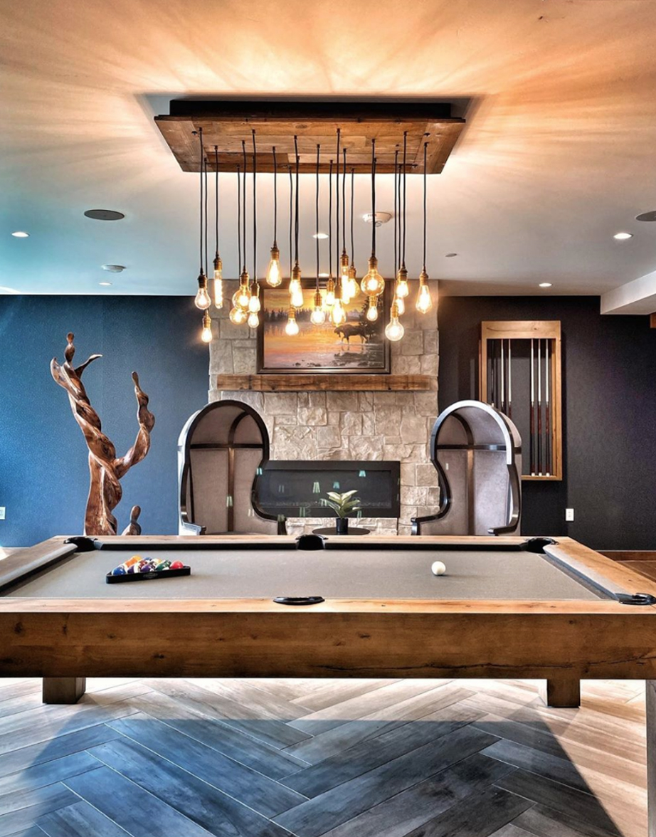 recalimed wood chandelier, pool table light
