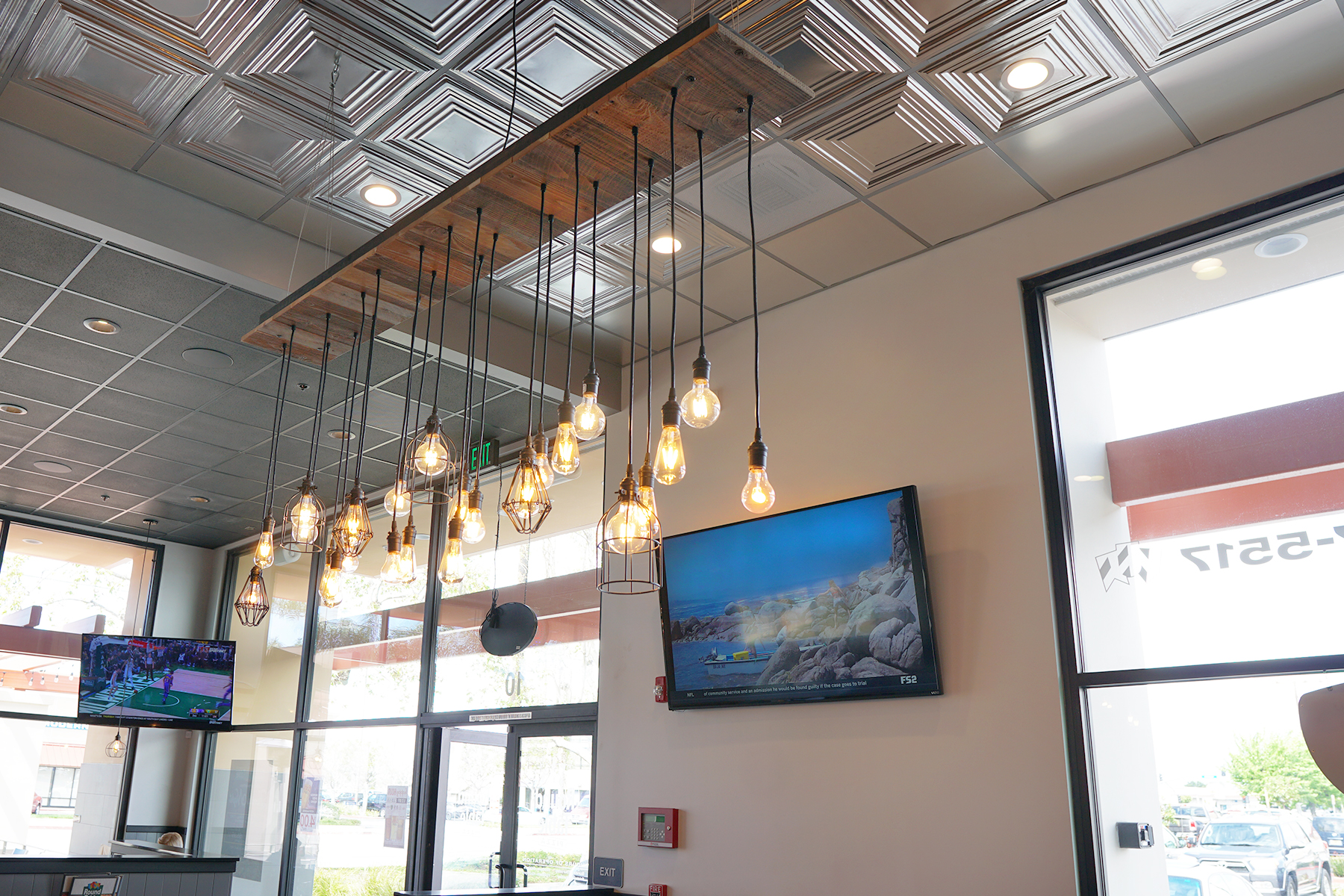 reclaimed wood edison bulb chandelier