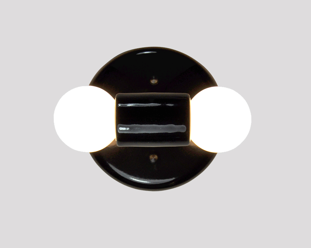 Sconce Modern Double Light - Black
