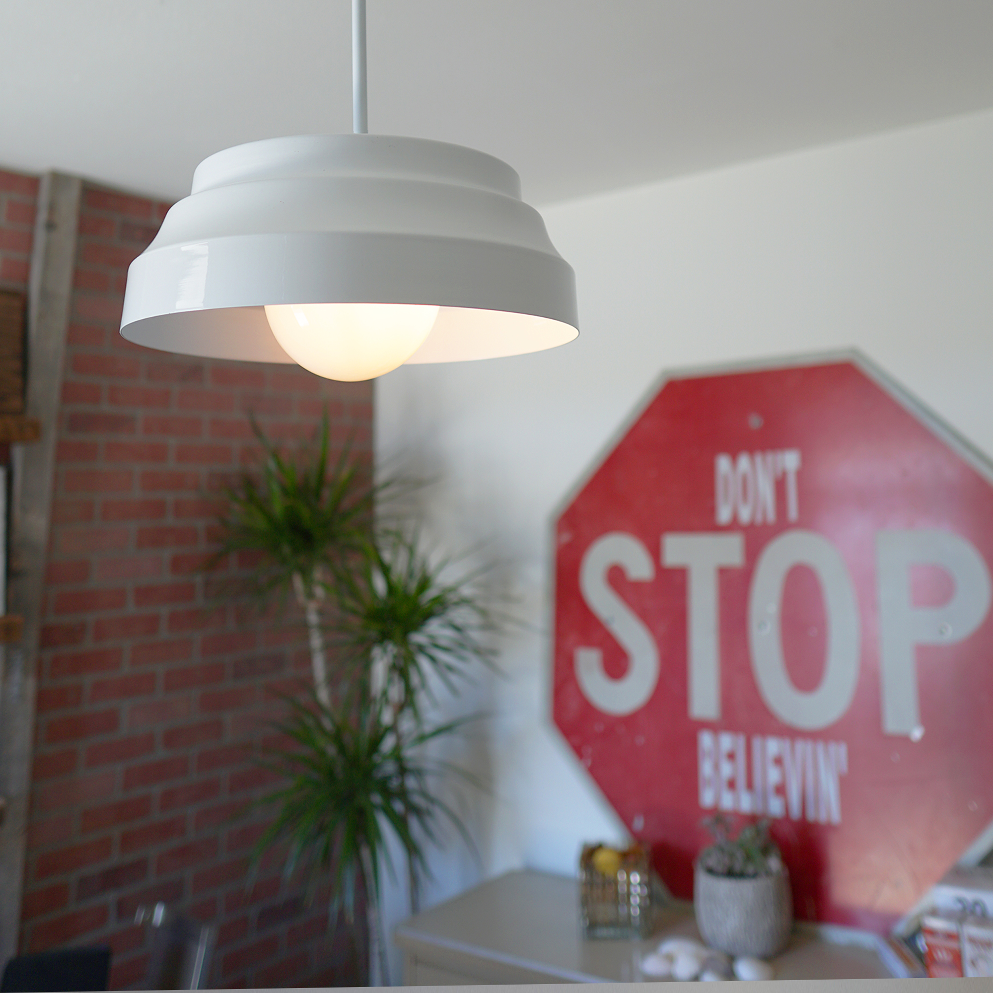 White Dome Pendant Light in Office
