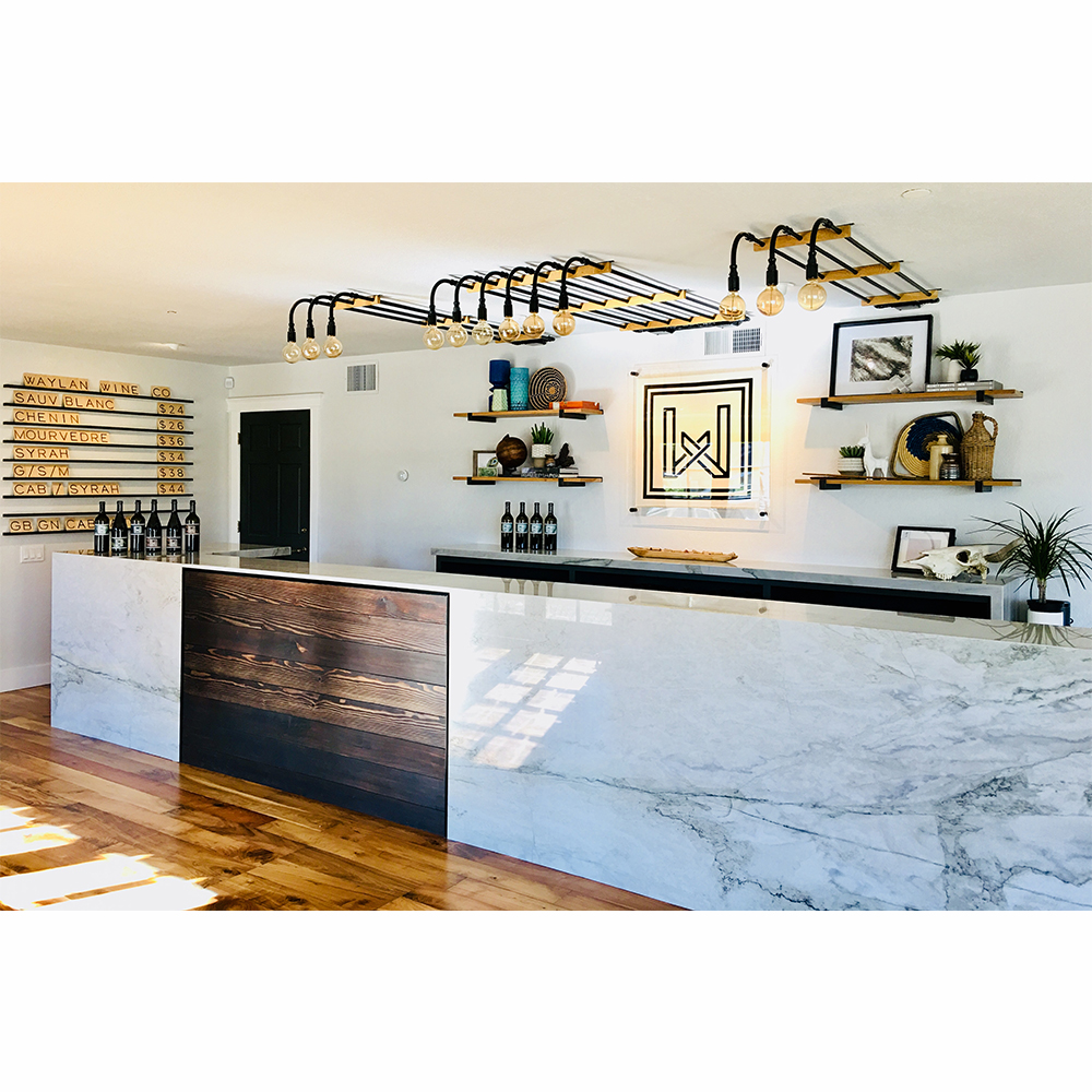custom pipe light wine tasting room